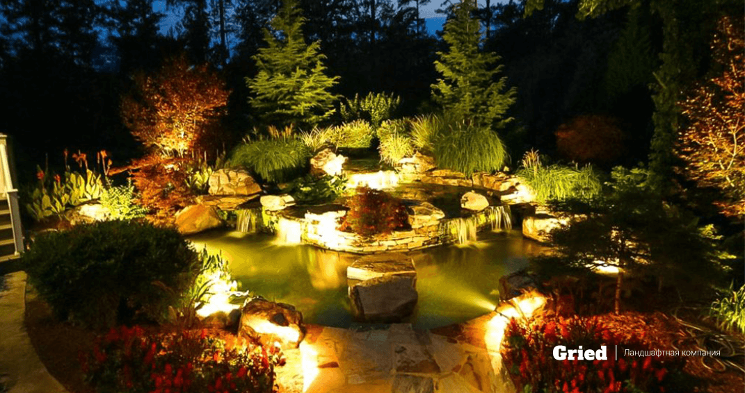 освещение для пруда фото